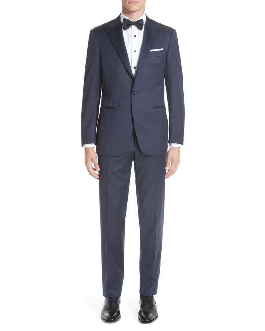 Canali Blue Classic Fit Wool Tuxedo for men