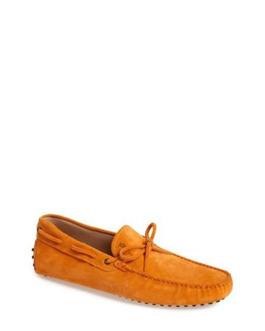 Tod's | Orange 'gommini' Tie Front Driving Moccasin for Men | Lyst