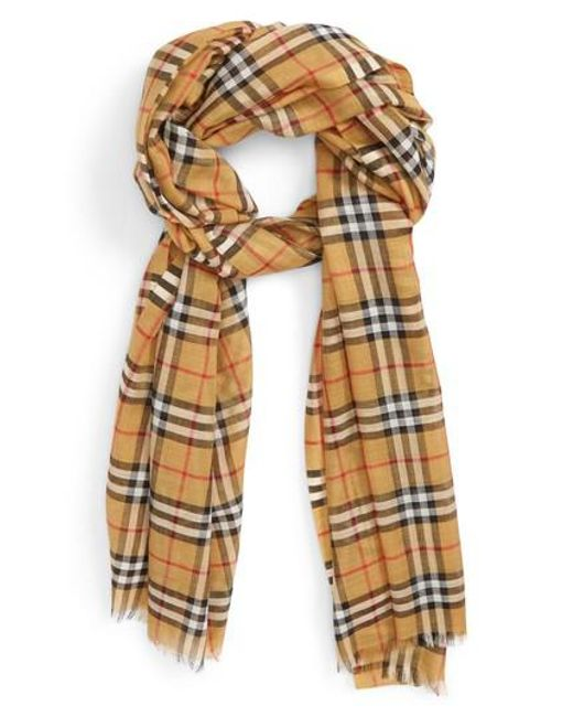 Burberry - Multicolor Vintage Check Wool & Silk Gauze Scarf - Lyst