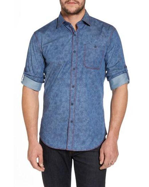 Bugatchi - Blue Slim Fit Button Tab Sport Shirt for Men - Lyst
