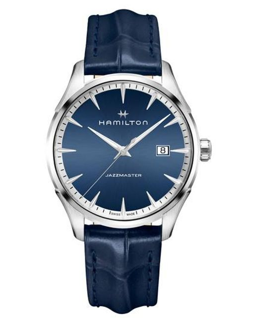 Hamilton - Blue Jazzmaster Gent Leather Strap Watch for Men - Lyst