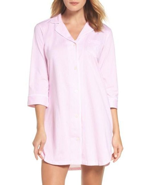 Lauren by Ralph Lauren | Pink Jersey Sleep Shirt | Lyst