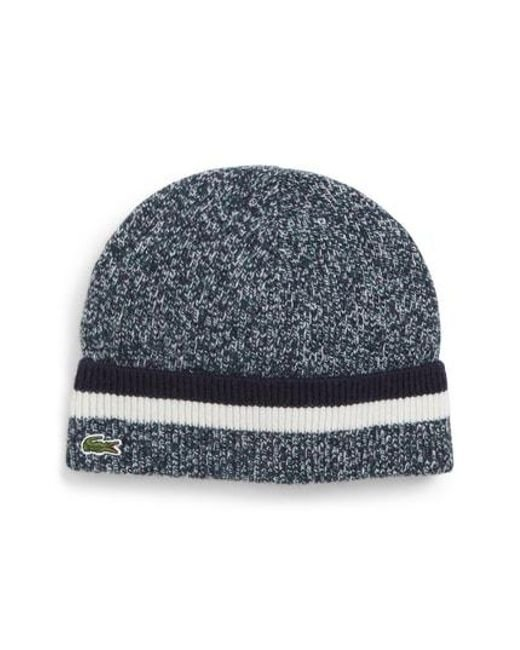 86dfecebece Lacoste - Multicolor Striped Wool Beanie - for Men - Lyst
