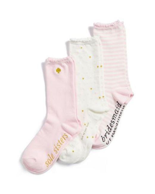 Kate Spade   Multicolor Bridesmaid 3-pack Crew Socks, Ivory   Lyst