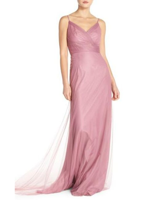 Monique Lhuillier Bridesmaids | Pink Surplice Tulle Gown | Lyst