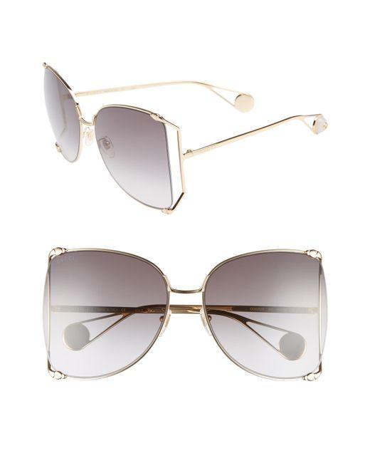 ae75b2d53e8b Gucci - Metallic Oversized Metal Butterfly Sunglasses - Lyst ...