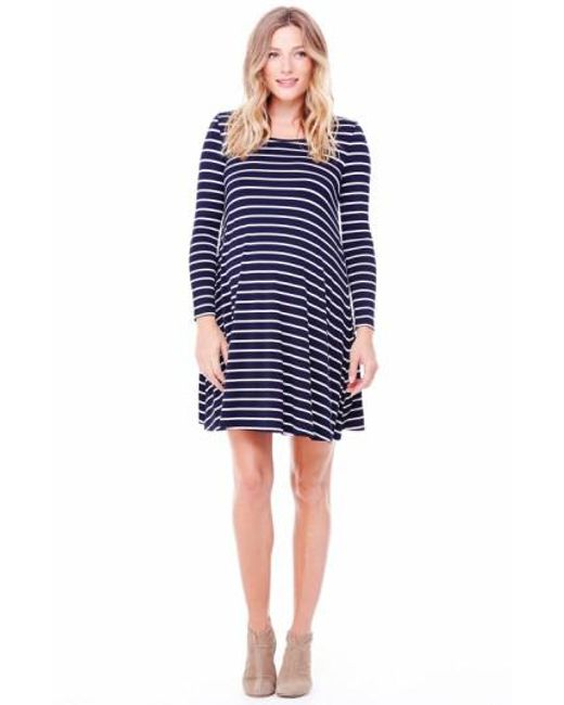 Ingrid & Isabel | Blue Ingrid & Isabel Striped Maternity Trapeze Dress | Lyst