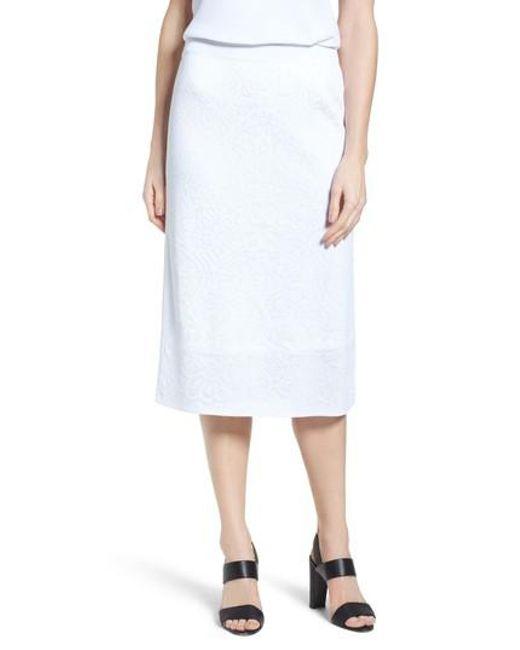 Ming Wang - White Jacquard Knit Straight Skirt - Lyst