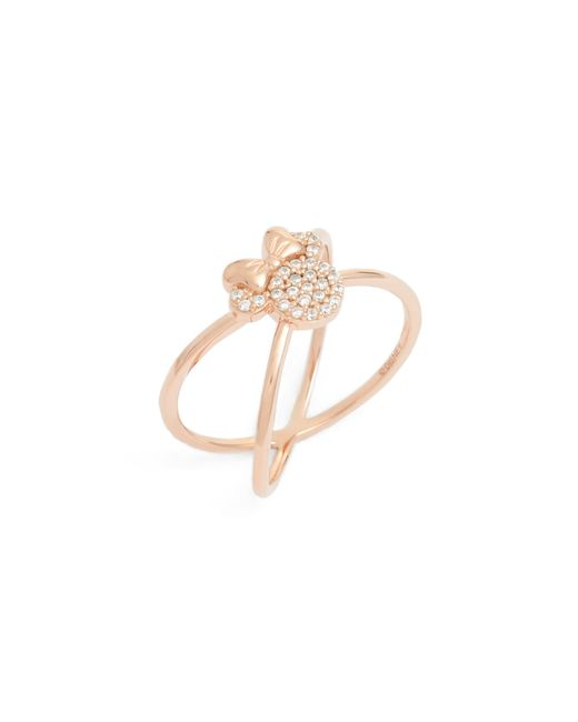Disney - Metallic Minnie Mouse Rose Gold & Crystal Cross Ring - Lyst