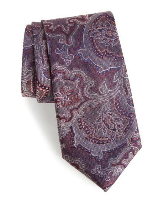 Calibrate | Purple Ellerson Paisley Silk Tie for Men | Lyst
