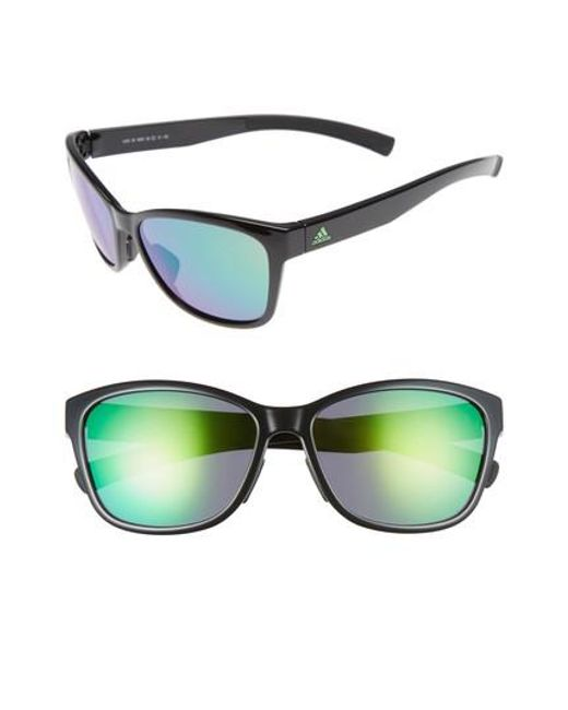 42ea8d0036 Adidas - Excalate 58mm Mirrored Sunglasses - Shiny Black  Green Mirror -  Lyst