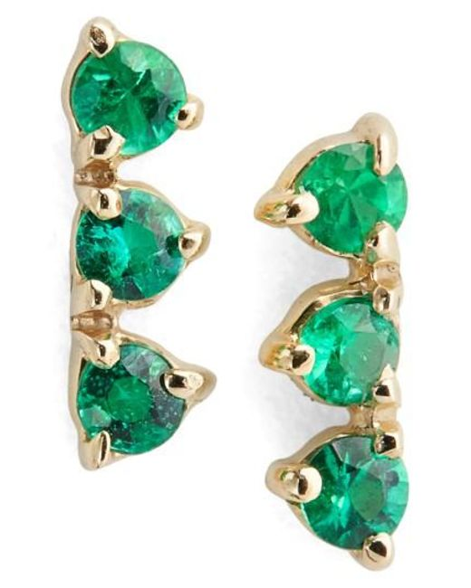 Wwake   Green Counting Collection Three Step Emerald Statement Earrings (nordstrom Exclusive)   Lyst