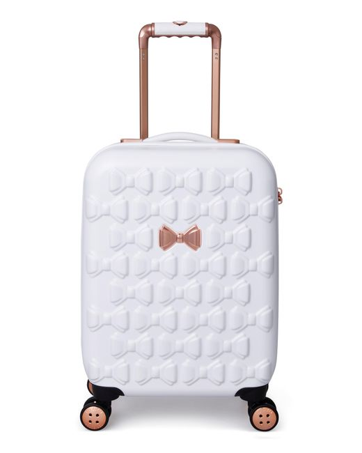 Ted Baker - White Small Beau 21-inch Bow Embossed Four-wheel Trolley Suitcase - Lyst