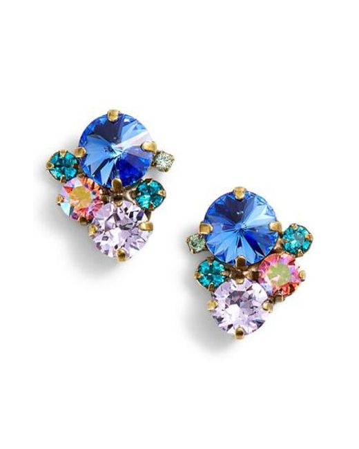 Sorrelli Blue Orted Round Crystal Stud Earrings Lyst
