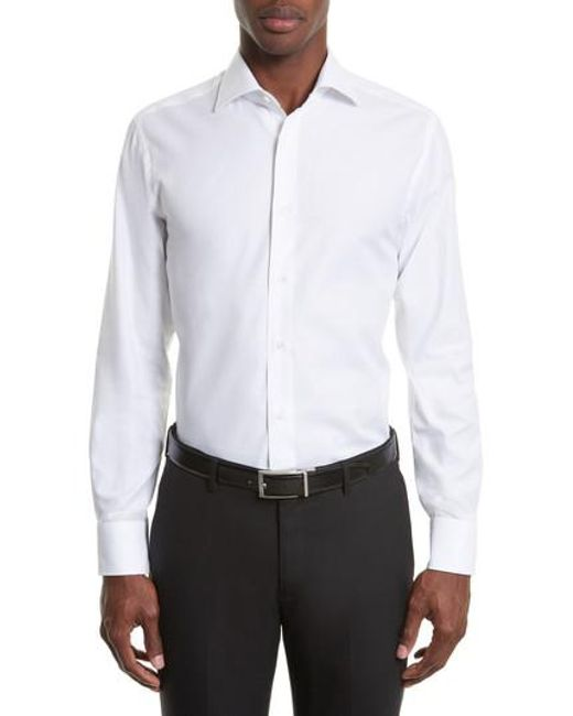 Canali - White Regular Fit Solid Dress Shirt for Men - Lyst