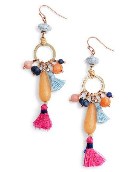 Nakamol Multi-Bead & Tassel Drop Earrings tTaqp