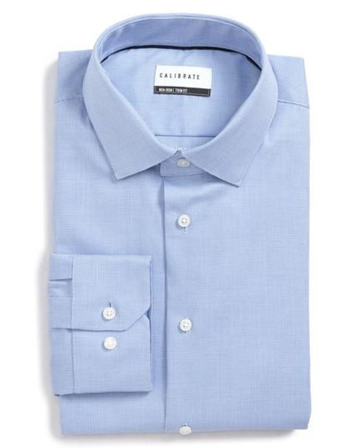 Calibrate trim fit non iron stretch dress shirt in blue for How to stretch a dress shirt