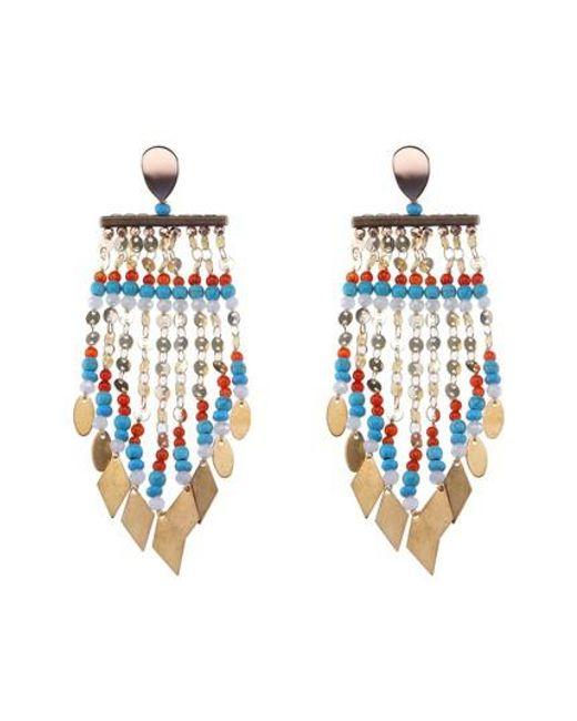 Nakamol - Blue Long Beaded Metal Fringe Earrings - Lyst
