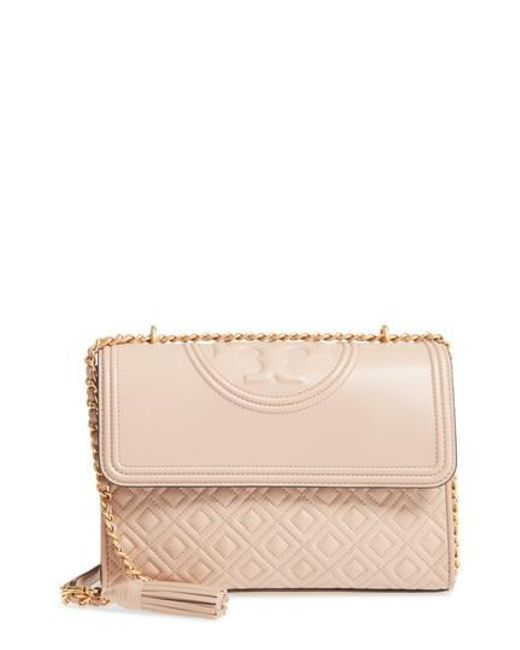 Tory Burch | Pink Fleming Quilted Lambskin Leather Convertible Shoulder Bag | Lyst