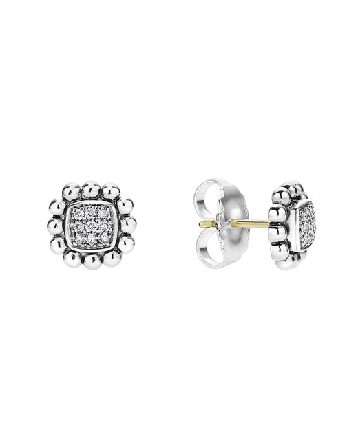 Lagos - Metallic Sterling Silver Caviar Spark Diamond Square Stud Earrings - Lyst