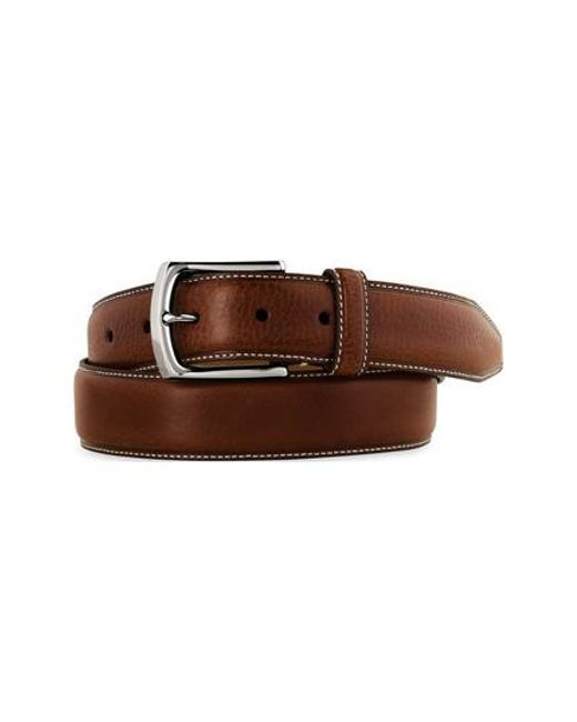 Johnston & Murphy | Brown Calfskin Leather Belt for Men | Lyst