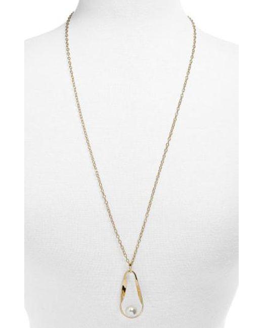BaubleBar - Metallic Stasia Imitation Pearl Pendant Necklace - Lyst