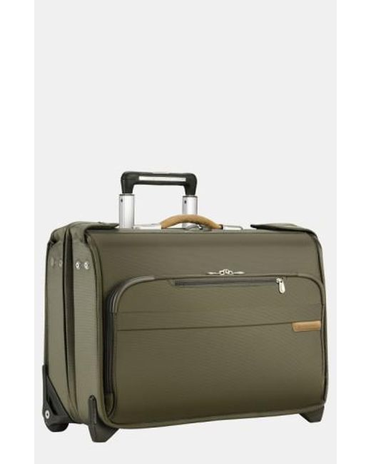 Briggs & Riley | Green 'baseline' Rolling Carry-on Garment Bag for Men | Lyst