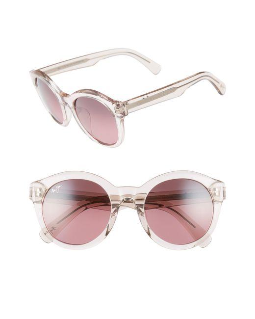 Maui Jim - Jasmine 51mm Polarizedplus2 Round Sunglasses - Crystal Pink/ Maui Rose - Lyst