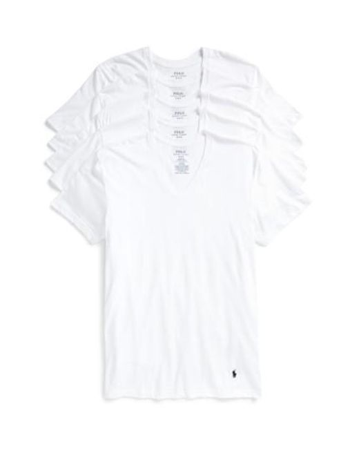 Polo Ralph Lauren - 5-pack V-neck T-shirts, White for Men - Lyst