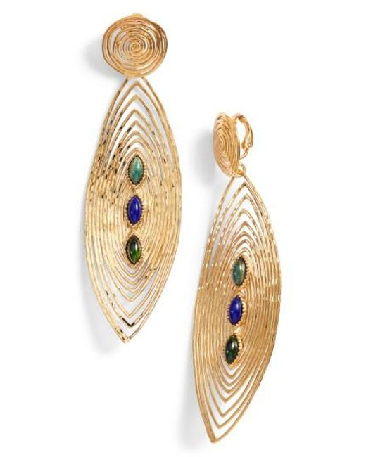 Gas Bijoux | Metallic Longwave Cabochon Drop Earrings | Lyst