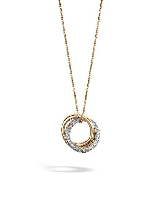 John Hardy - Metallic Bamboo Diamond & 18k Gold Pendant Necklace - Lyst