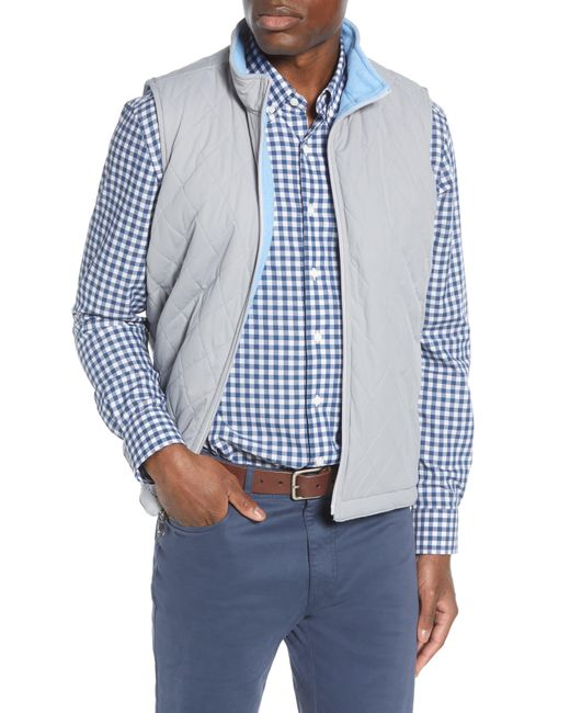 Peter Millar Blue All Day Reversible Quilted Vest for men