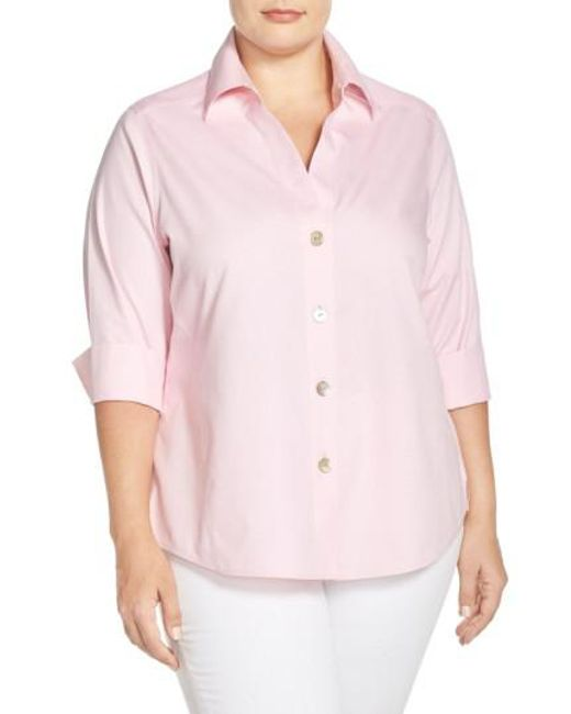 5f34b839f38 Lyst - Foxcroft  paige  Non-iron Cotton Shirt in Pink - Save 39%