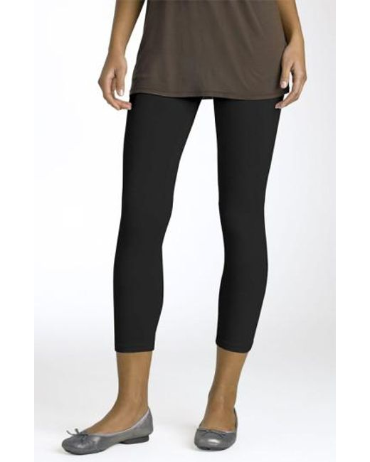 Splendid - Black Crop Stretch Knit Leggings - Lyst