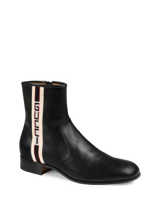 Gucci - Black Stripe Leather Boots for Men - Lyst