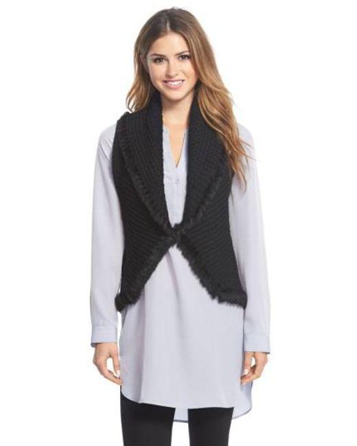 Love Token - Black Knit Vest With Genuine Rabbit Fur Trim - Lyst