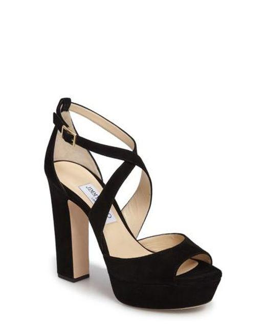 April Satin Platform Sandals in Black and Anthracite and Black Satin with Velvet Glitter Jimmy Choo London EEKgLm2V