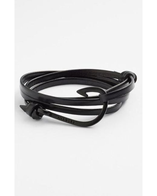 Miansai - Black 'noir' Hook Leather Bracelet for Men - Lyst