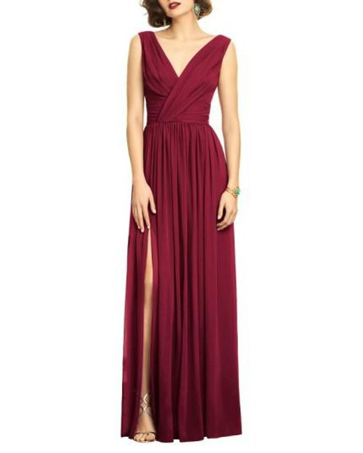 Lyst - Dessy Collection Surplice Ruched Chiffon Gown