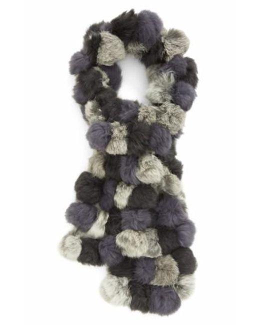 La Fiorentina | Gray Genuine Rabbit Fur Scarf | Lyst