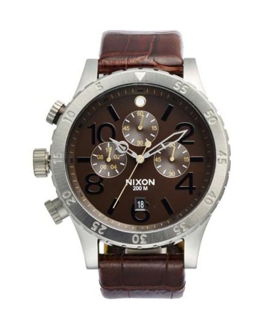 Nixon - Brown 'the 48-20' Chronograph Leather Strap Watch for Men - Lyst