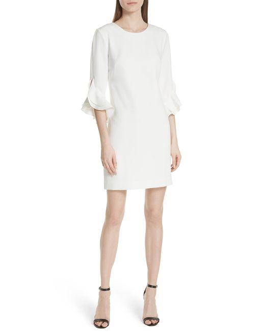 MILLY - White Italian Cady Fernanda Tulip Sleeve Dress - Lyst