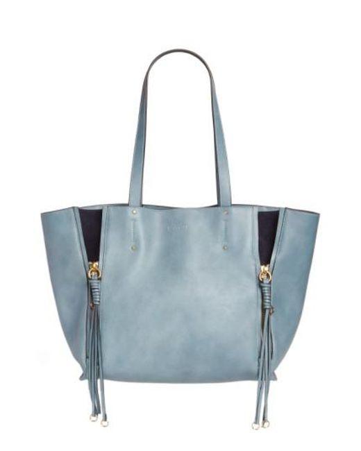 Chloé - Blue Medium Milo Calfskin Leather Tote - Lyst