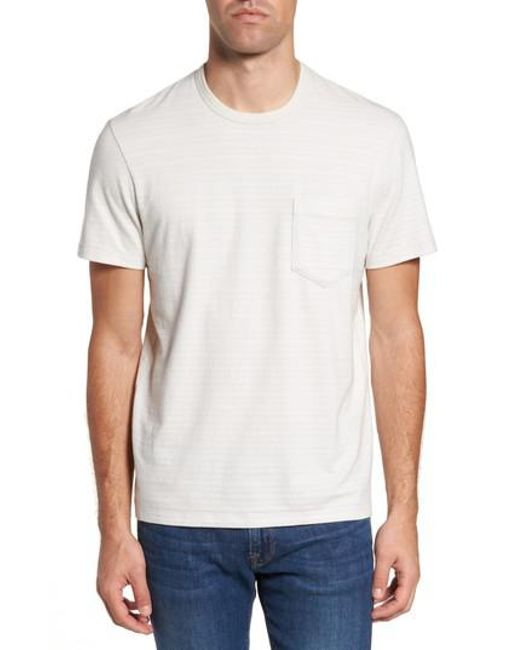 James Perse | White Shadow Stripe Pocket T-shirt for Men | Lyst