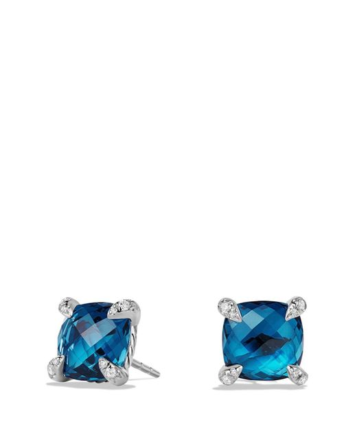 David Yurman - Châtelaine Earrings With Hampton Blue Topaz And Diamonds - Lyst