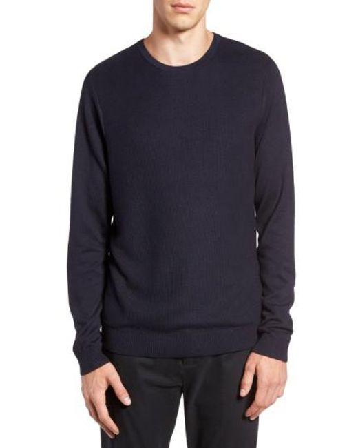 Calibrate   Blue Honeycomb Stitch Crewneck Sweater for Men   Lyst