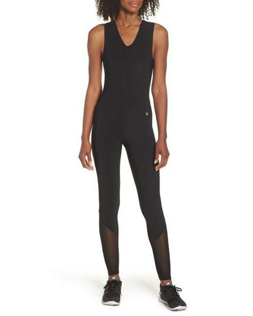 BOOM BOOM ATHLETICA - Black Performance Mesh Panel Jumpsuit - Lyst