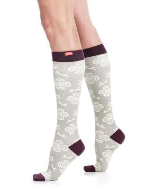 VIM & VIGR - Gray Queen's Floral Compression Trouser Socks - Lyst