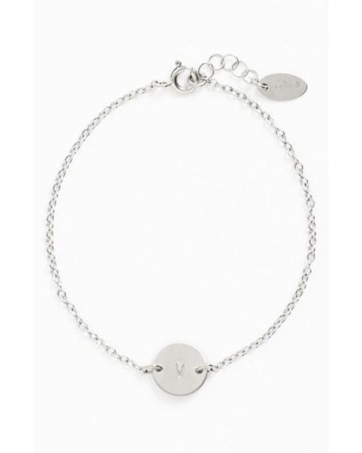 Nashelle - Metallic Sterling Silver Mini Initial Disc Bracelet - Lyst