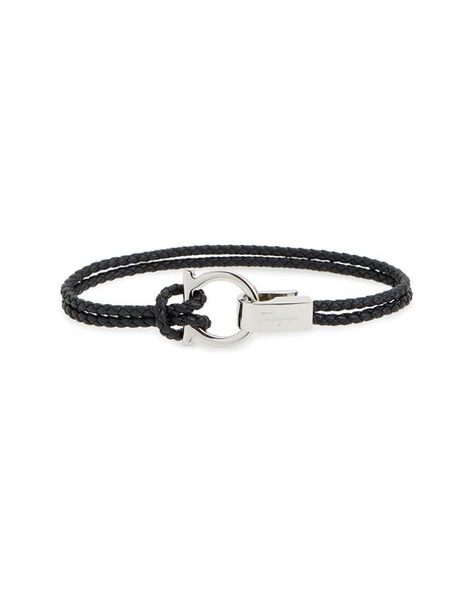 Ferragamo - Black Double Braided Gancini Leather Bracelet for Men - Lyst